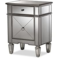 Baxton Studio Camile Hollywood Regency Glamour Style Mirrored Nightstand, Silver Mirrored