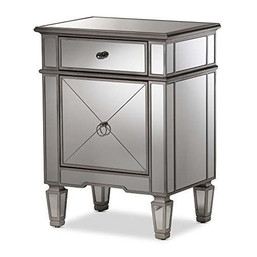 - Baxton Studio Camile Hollywood Regency Glamour Style Mirrored Nightstand, Silver Mirrored
