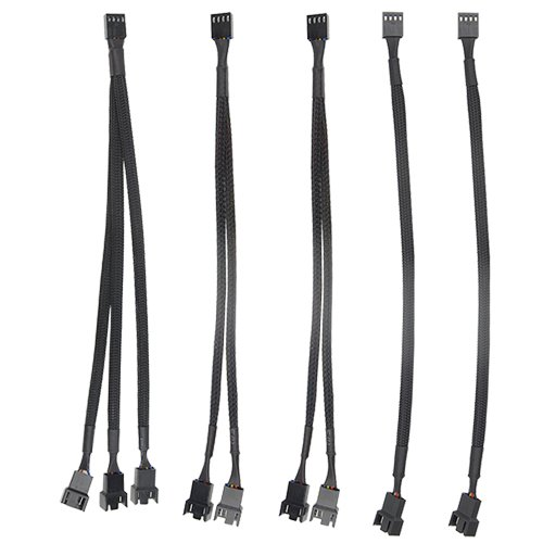 WGCD 5 PCS 4 Pin PWM Fan Extenison Cable 1 to 2 3-Way PWM Fan Splitter Extension Power Cable for Computer PC, Black Sleeved by WGCD
