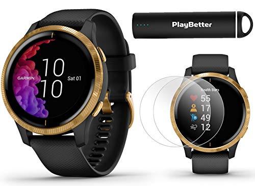 Garmin Venu (Black/Gold) Power Bundle   +HD Screen Protectors (x4) & PlayBetter Portable Charger   AMOLED Display, Spotify   Fitness GPS Smartwatch