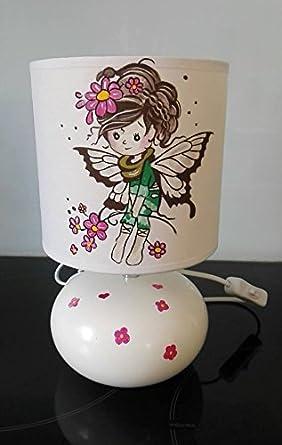 Lampe De Chevet Fille Fee Fleur Papillon Peint Main Amazon Fr