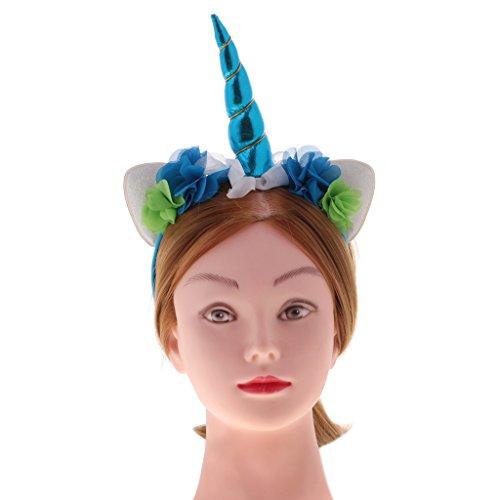 27c59018cc18 best MagiDeal Serre-tête Licorne Floral Bandeau aux Oreilles Corne Tissu  Chapeau Déguisement pour Enfant