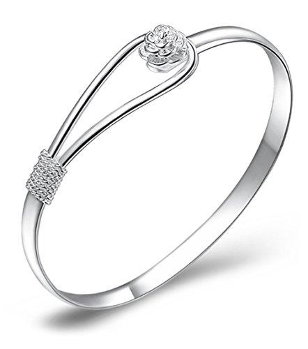 Best Buy! Klicnow Women's 925 Sterling Silver Heart Chain Bracelet, Silver