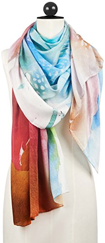 R. Culturi Handmade in Italy Modal Cashmere Luxury Artwork Scarf (White/Red) by R. Culturi (Image #2)