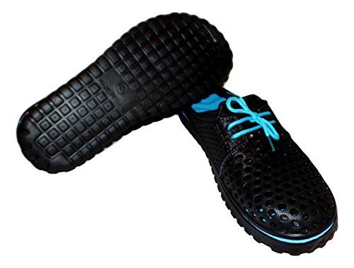 101 Strand Mens Spets Front Slide Sandal Svart / Aqua
