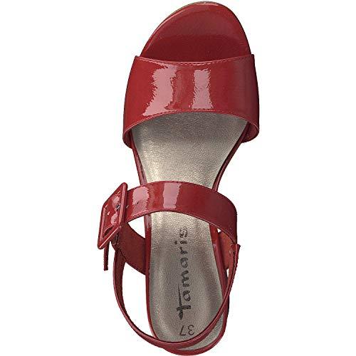 Para 1 Rojo 1 chili Con Tamaris 22 Mujer Pulsera 28211 Sandalia Patent 520 0wTqzd