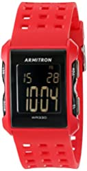 Armitron Sport Men's 40/8177RDG Digital Chronograph Red Perforated Resin Strap Watch
