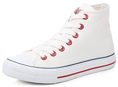 IDIFU Womens Mens Classic High Top Flat Canvas Sneakers Lace Up Round Toe Sports Plimsolls White 2 nmgH4uz