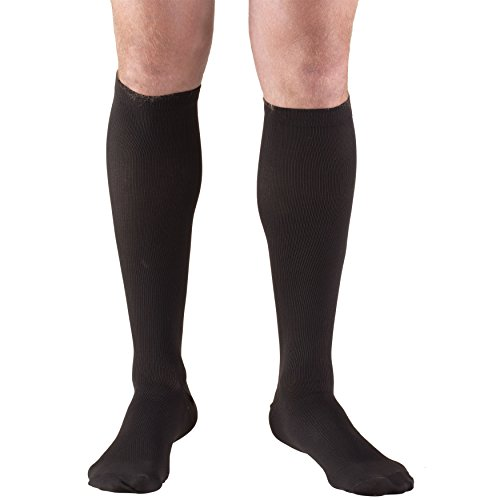 Truform Compression Socks, 30-40 mmHg, Knee High, Dress Style, Black, Large (30-40 mmHg)