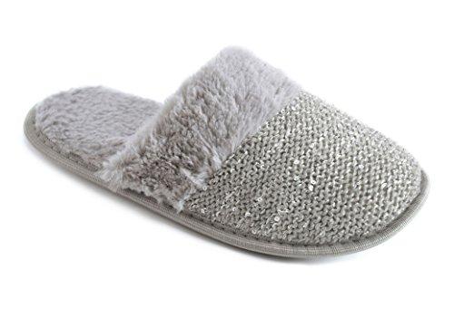 Socks Uwear�? Slumberzz,  Damen Durchgängies Plateau Sandalen mit Keilabsatz Grau