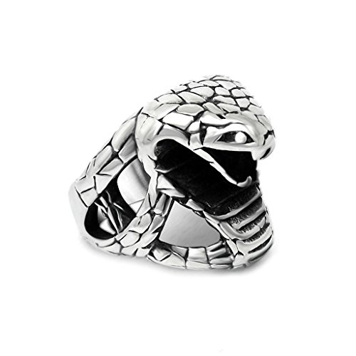 [Moandy Mens Stainless Steel Ring Vintage Retro Punk Hiphop Cobra Snake Rings For Men,Silver Black] (Johnny Depp Wolf Costume)