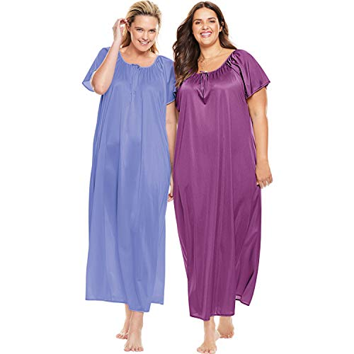 - Only Necessities Women's Plus Size 2-Pack Long Nightgown Set - French Lilac Radiant Orchid, M