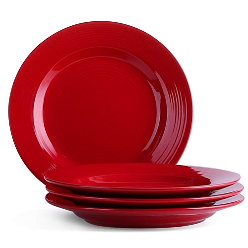 Le Tauci 4 Piece 8 Inch Ceramic Salad Plate Set, Red