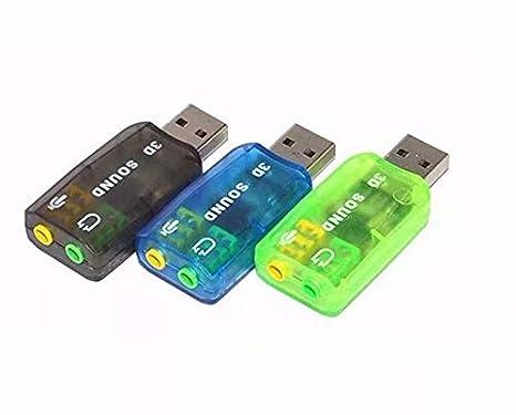 SANDIN Tarjeta de Sonido USB 5.1 3D Externa Adaptador Audio y Microfono Virtual DJ