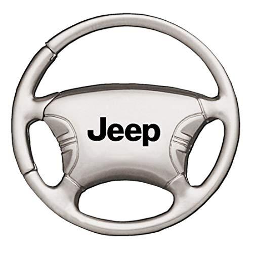 - Jeep Wranger Chrome Steering Wheel Key Fob Authentic Logo Key Chain Key Ring Keychain Lanyard