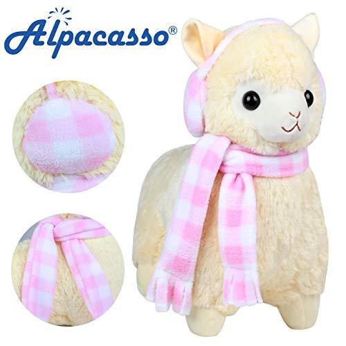 Alpacasso 17 Yellow Plush Alpaca, Cute Stuffed Animals Toys.(Scarf and Earmuff)