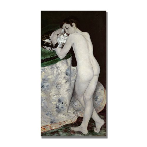 Trademark Fine Art A Boy With A Cat by Pierre Renoir Canvas Wall Art, 16x32-Inch