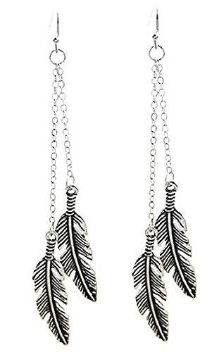 Double Feather Chain Earrings (Double Feather Earrings)