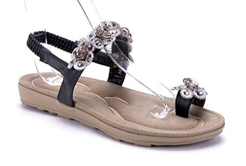 Schuhtempel24 Damen Schuhe Zehentrenner Sandalen Sandaletten Beige Flach Ziersteine/Blumenapplikation mxrPGA1fTY