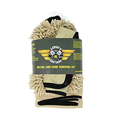 Sarge's .50 Cal Car Care Survival Kit - Car Wash Kit Contains - .50 Cal Car Wash Mitt - .50 Cal Car Drying Towel - (2) .50 Cal Glass Cleaning Towels - Car/RV/Motorcycle Cleaning Kit: Automotive
