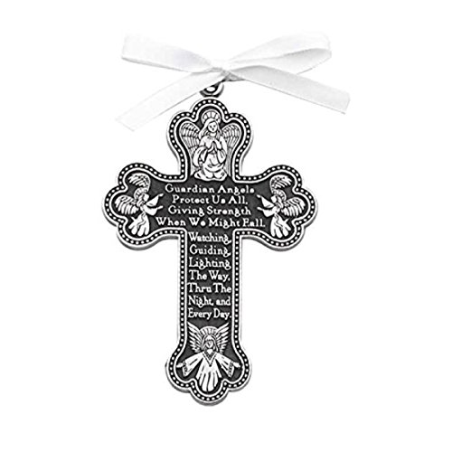 "- GUARDIAN ANGEL Crib Cross 3.5"" PEWTER Medal with WHITE Ribbon BOY or GIRL - CHRISTENING - BABY SHOWER GIFT Baptism KEEPSAKE Newborn GIFT BOXED"