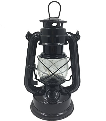 Luwint Vintage LED Hurricane Lantern - Traditional Look Styles Lanterns Lamp for Emergencies, Camping, Outages, Home Decor - 2 AAA Batteries Operated, Black (Large Lantern)