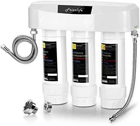 Frizzlife Under Sink Water Filter System SK99, 3-Stage 0.5 Micron High Precision Removes 99.99 lead, chlorine, chloramine, fluoride – Tankless Quick Change