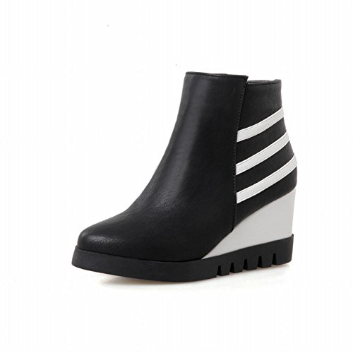 Latasa Womens Fashion Stripes Zipper Ankle-high Casual Mid Wedge Boots Black MRYifHH