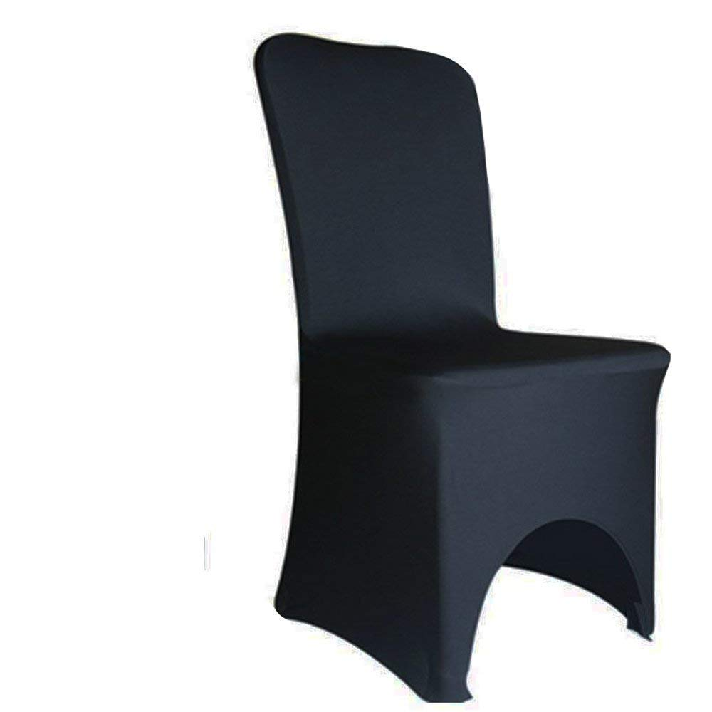 FCH Polyester Spandex Chair Covers w/ 4 Elasticated & Rugged Pockets Universal Wedding Banquet Anniversary Party Home Decoration (ARCHED FRONT BLACK, 50 PCS)