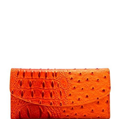 - Ostrich Print Embossed Soft PU Leather 15-Card-Slot Slim Trifold Wallet with Checkbook Holder