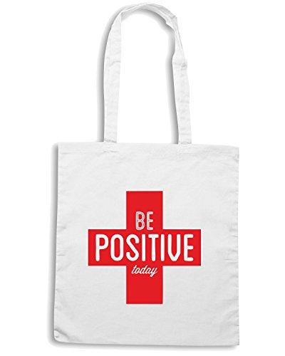 T-Shirtshock - Bolsa para la compra CIT0047 Be Positive Today Blanco