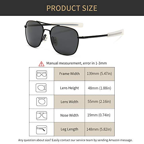04205c9a03e6 SUNGAIT Men's Military Style Polarized Pilot Aviator Sunglasses - Bayonet  Temples
