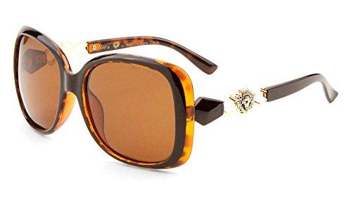 Kleo Oversized Butterfly Lion Head Medallion Sunglasses (Tortoise & Gold Frame, - Head Medusa Sunglasses