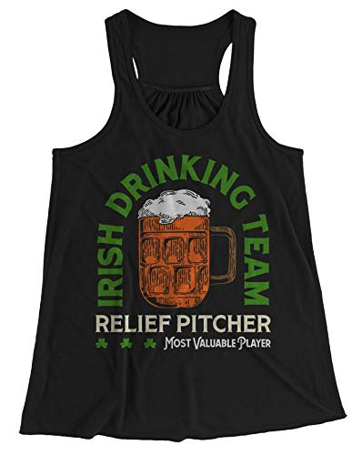 (Shirts By Sarah Women's Irish Drinking Team Tank Top Relief Pitcher Beer Tanks (Black XLarge))