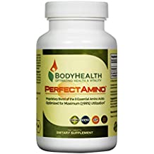 PerfectAmino 8 Essential Amino Acids with BCAA by BodyHealth, Vegan Branched Chain Amino Energy, Fat Burner & Weight Loss Pre Post Workout Supplements for Men and Women, 99% Utilization, 150 Tablets