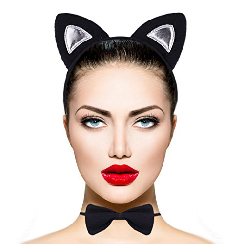 Lux Accessories Halloween Cat Kitty Costume Black Silver Furry Ears Bow Tie (Cat Tail Halloween Costume)