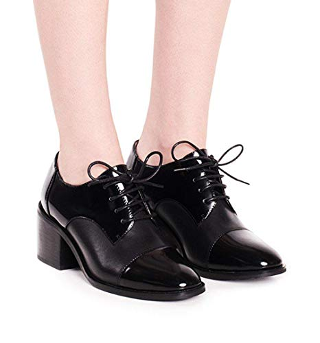 - Jeffrey Campbell Women's Cordell Oxford Stacked Heel Lace Up (6.5, Black)