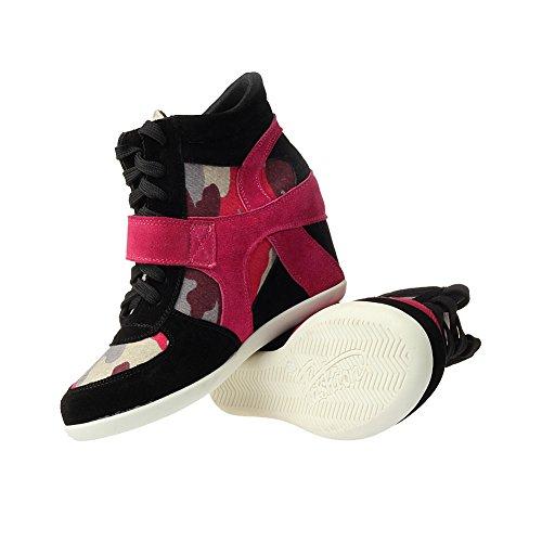 Keil Rismart Arbeitsbereich EU38 Mode 8522 Sneaker Komfort Wildleder Schuhe Damen Hakenschleife Rose 544OWpT
