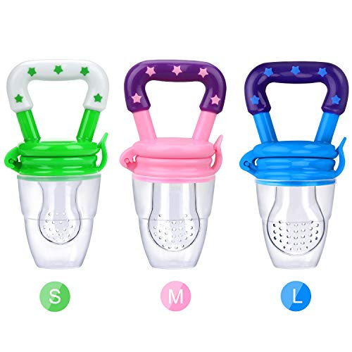 Baby Fruit Food Feeder 3Pack Silicone Nipple Fresh Pouches Teething Toy Aching Gums Pacifier Reusable Green Pink Blue(S,M,L)