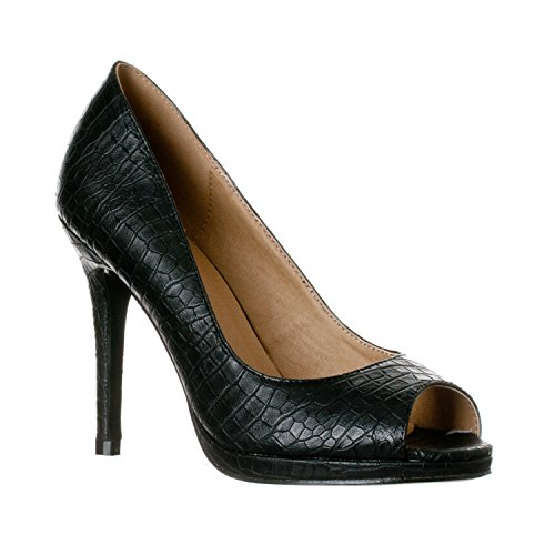 Riverberry Women's Julia Slight Platform Open Toe High Heel Pumps, Black Croc, ()