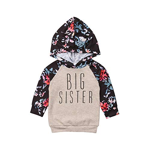 Baby Girl Big Sister Little Sister Matching Outfits Floral Hooded Romper Jumpsuit Tops Clothes - http://coolthings.us