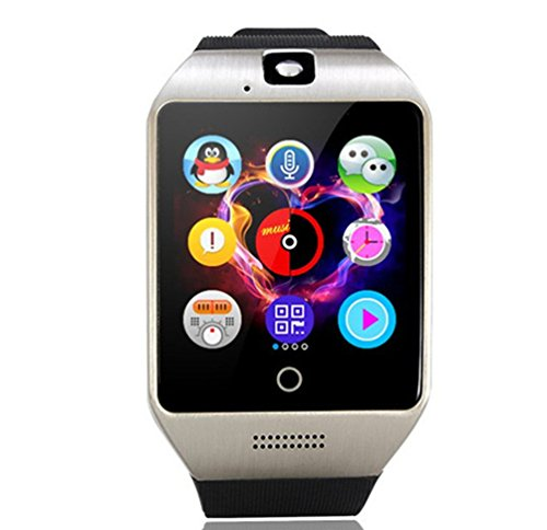 Internet Gsm Cell (Smart Watch Phone ,SUNETLINK Touch Screen Bluetooth Cell Phone Watch Support Pedometer Analy/Sleep Monitoring with Camera NFC,for Android Smartphones,Men Women Kids Girls (Black silver color))