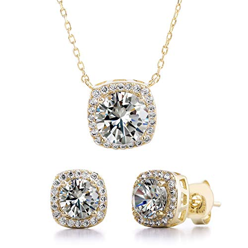 (Devin Rose Stud Halo Cushion Shaped Earring for Women and 18