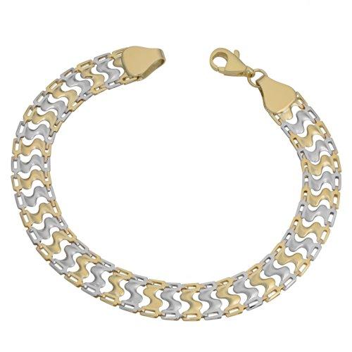 Gold Bracelet Tone Two 10k (Kooljewelry 10k Two-tone Gold Fancy Link Bracelet (8mm, 7.5 inch))