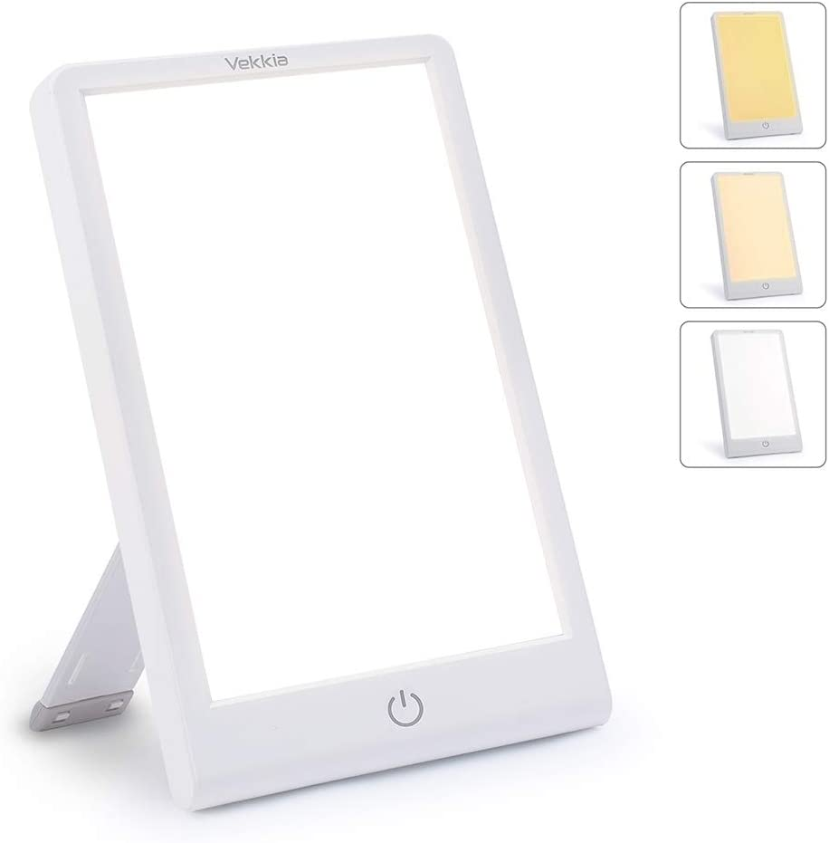 Light Therapy Happy Sun Lamp- 3 Color Adjustable Stepless Brightness, Sad Light with Timer Function, 10000 Lux Happy Light with Touch Control, Standing Bracket Compact Size for Office Sleep.