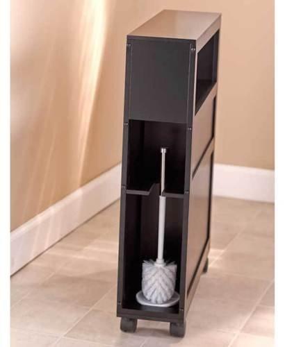 Rolling Slim Bathroom Storage Organizer With 2 Drawers Toilet Paper Shelf Black by Wowdeal