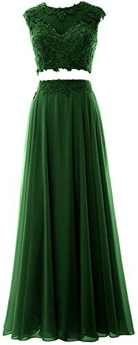 lungo pizzo Green Dress formale MACloth 2 partito abito Dark Chiffon da Prom nbsp;pezzi donne sera TaRIS6q0