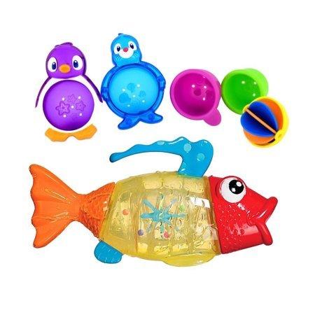 Munchkin Twisty Fish Bath Toy with Lazy Buoys Bathtub Toys WLM (Munchkin Lazy Buoys Bathtub Toys)