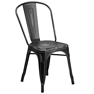 Flash Furniture Distressed Black Metal Indoor-Outdoor Stackable Chair