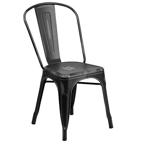 Flash Furniture 4 Pk. Distressed Black Metal Indoor-Outdoor Stackable Chair